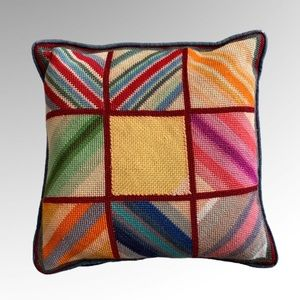 Needlepoint Vintage Colorful Pattern Pillow Case